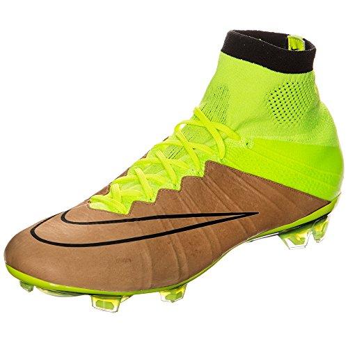 Nike Mercurial Superfly Lthr Fg, Chaussures de Football Homme Multicolore - Dorado / Amarillo / Negro (Canvas/Black-Volt)