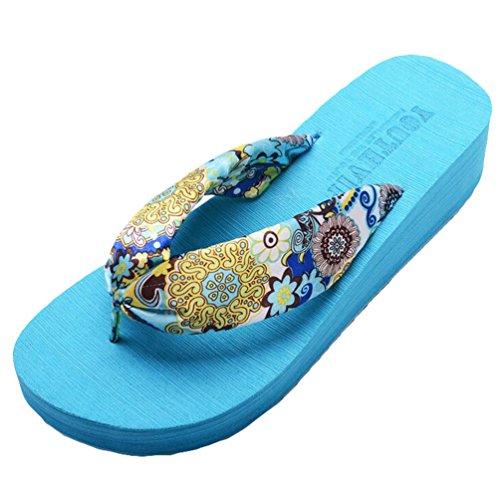 Yiiquan Donna Sandali Bohemia Zeppa Infradito Scarpe da spiaggia Pantofole Blu #2