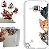 Samsung Galaxy J1 2016 Coque, CatStyle (Trois chats) Soft Gel TPU Housse Etui Silicone Case Cover pour Samsung Galaxy J1 2016 (4.5 inches) +1x Bouchons de poussière