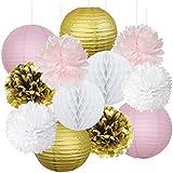 Furuix 12pcs rose or partie décoration kit papier de soie pom pom nid d'abeille et lanterne de papier pour les filles d'anniversaire décoration de mariage rose baby shower salle de décoration parti favors