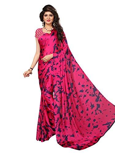Kanchnar Women's Pink Satin Printed Saree (670s3004)