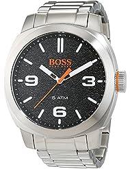 Montre Hommes Boss Quartz - Affichage Analogique bracelet Acier Inoxydable Argent et Cadran Noir 1513454