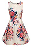 ACEVOG Womens Casual Fit and Flare Floral Sleeveless Dress