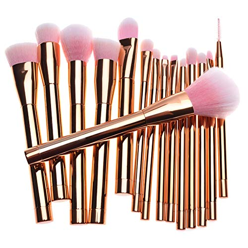 Make-up Pinsel 15 Stück Pro Make-up Pinsel Set mit Tasche & Natural Hair (Foundation Pinsel, Puderpinsel, Lidschatten Pinsel) Am besten für Reisen & Geschenke,Roségold,15 Stück(260g)
