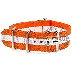 Original from Buran01 Military Nylon WATCH STRAP Orange/White 18mm WATCH STRAP