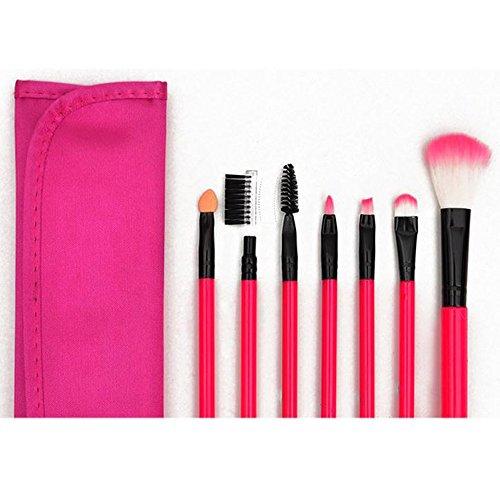 Contever® 7 PCS Cosmétique Professional Brosses Pinceaux de Maquillage Poignée en plastique Make Up Brush Set Haute Qualité Brosses en Fibres Synthétiques avec Sac(Rouge-Rose)