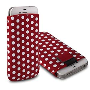 CNL RED / WHITE POLKA DOT DESIGN LEATHER PULL-UP POUCH COVER CASE SLEEVE FOR THE APPLE IPHONE 4 / 4S HANDSET