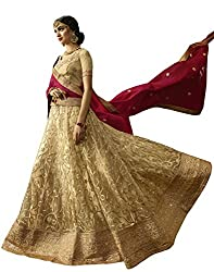 DesiButiks Wedding Wear Ravishing Chickoo Net semi-stitched Lehenga
