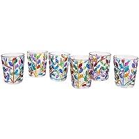 Set 6 bicchierini liquore Laurus multicolore in cristallo dipinti a mano Murano style Venezia