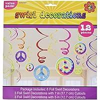Amscan 60s Groovy Swirls - Decoración inspirada en los años sesenta