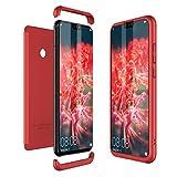 Winhoo para Funda Huawei Honor 8X Carcasa Fundas para Huawei Honor 8X 360 Grados 3 en 1 Desmontable Ultra-Delgado Anti-Arañazos Case Protectora - Rojo