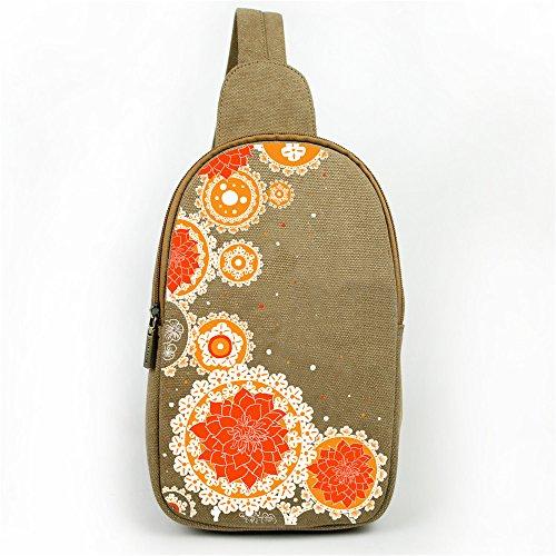Zaino multiuso Crossbody borsa a tracolla stile vintage etnico petto Pack borsa arrampicata bag marrone Flowers Orange flower