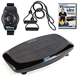 Vibrapower Slim 2 Power Vibration Plate Trainer with Free DVD, Resistance Bands + Remote Watch, Various Colours