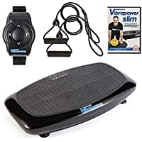 VIBRAPOWER Slim 2 Power Vibration Plate Trainer with Free DVD, Resistance Bands + Remote Watch
