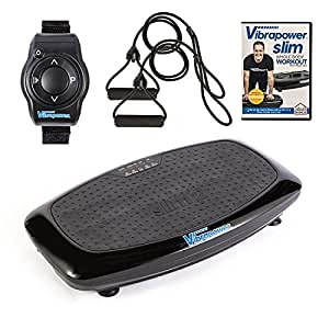 Vibrapower Slim 2 Power Vibration Plate Trainer with Free DVD, Resistance Bands + Remote Watch, Black