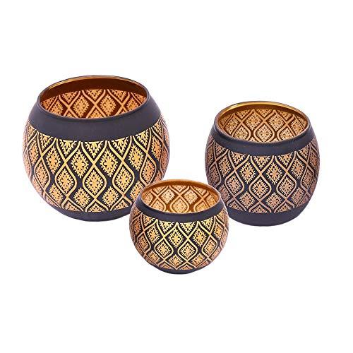 Flanacom Orientalische Windlichter Teelichter Teelichtgläser Windlicht Orientalisches Marokkanisches Teelicht Teelichthalter - Dekoration für die Wohnung oder Garten (3er Set Windlichter)