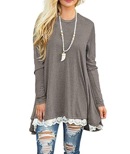 Bequemer Laden Langarm Tunika für Damen Shirts Casual Einfarbig Bluse Tops mit Spitzensaum Grau M