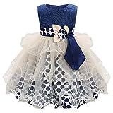 Trada Babybekleidung, Baby Kleinkind Säuglings Mädchen Blumen Sleeveless Bowknot Wellen Punkt Mädchen Prinzessin Kleid Festzug Taufkleid Hochzeit Partykleid Babykleid (80, Dunkelblau)