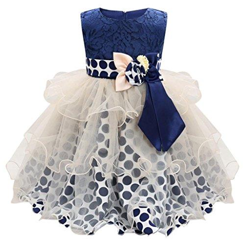 Trada Babybekleidung, Baby Kleinkind Säuglings Mädchen Blumen Sleeveless Bowknot Wellen Punkt Mädchen Prinzessin Kleid Festzug Taufkleid Hochzeit Partykleid Babykleid (90, Dunkelblau)
