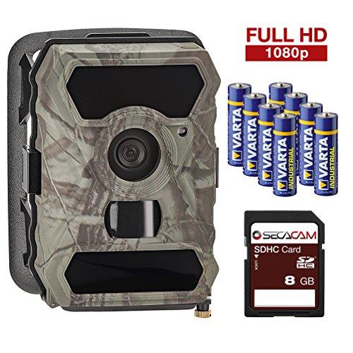SECACAM HomeVista - Full HD Tag- / Nachtsicht, 100° Weitwinkel, kabellose getarnte Outdoor Überwachungskamera Wildkamera – 12 MP / 0,4 Sekunden Auslösezeit / Bewegungsmelder