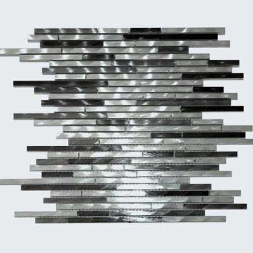 Aluminium Mosaik (Aluminium Alu Metall Mosaik Fliesen Schwarz Mix Stripes)