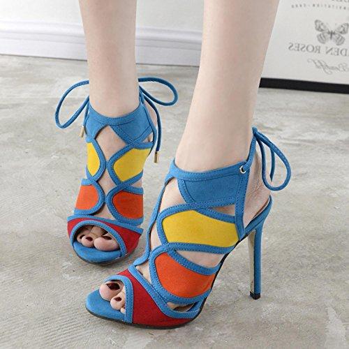 GS~LY Cadeau de fête des mères L'Europe et les États-Unis lutte poisson creux couleur daim bouche cool boots Blue