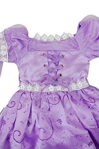 Imagen de katara  disfraz de princesa rapunzel o de sofía de disney vestido color violeta para niñas  ideal para cumpleaños o bodas alternativa