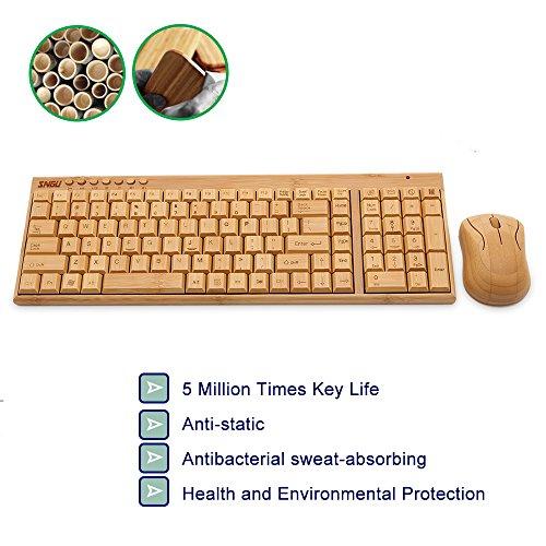 kabellose Bambus Tastatur und Maus - 2