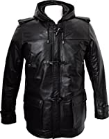 Mens Real Leather 3/4 Length Black Hooded Duffle Coat