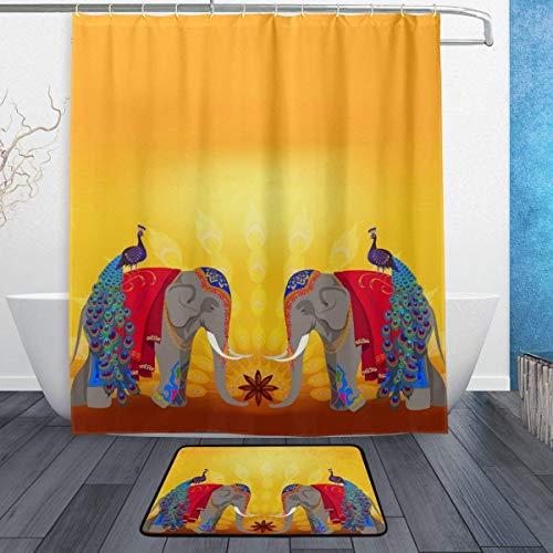 AdaCrazy Elefantes Indios Pavos Reales Fondo Patrón Cortina Ducha Conjunto impresión en...