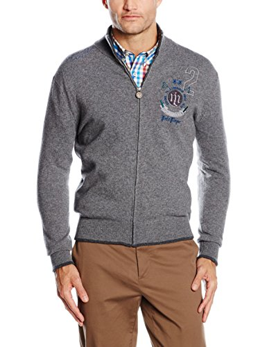 LA MARTINA Man Full Zip SW Lambswool G.12, Maglione Uomo, 01002 Medium Heather Grey, XL