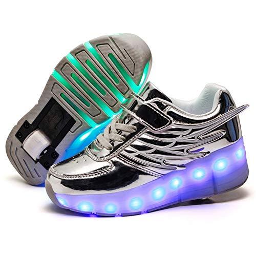 Skateboard Scarpe per Ragazzi e Ragazze Doppio Rotelle LED Luci Lampeggiante Luminosi Pattino a Rotelle Scarpe Bambini All'aperto Ginnastica Sneaker con Ruote e USB Carica