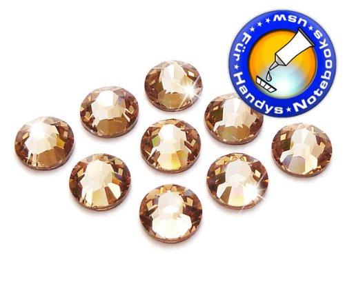 100 Stück SWAROVSKI ELEMENTS 2058 XILION - KEIN Hotfix, Light Colorado Topaz, SS5 (Ø ca. 1,8 mm), Strass-Steine zum Aufkleben