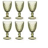 Vintage 6 Teile Set Glasnetz König Trinkglas Glas Gläser Weingläser Wasserglas Longdrinkglas (6 Stück Weinglas grün)