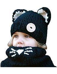 5ALL Unisex Bambino Cappelli Maglia di Lana Carino Animale Cane  Paraorecchie Sciarpa Cappello più Velluto Addensato Antivento Caldo Pompon… e0bfcc59ac3b