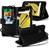 Spyrox ( Black ) Motorola Moto E 2015 2nd Generation Hülle Abdeckung Cover Case schutzhülle Tasche Stylish Fitted BookStyle PU Leather Wallet Flip With Credit / Debit Card Slot Case Skin Cover With LCD Screen Protector Guard, Polishing Cloth & Mini Retractable Stylus Pen