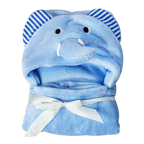 Ärmel Fleece Baby Handtuch süß bequem Tiere Karton mit Kaputze Bademantel Nachtwäsche(Bär,weiß)(9575cmtiger) - Blauer Elefant, 95 * 75cm ()