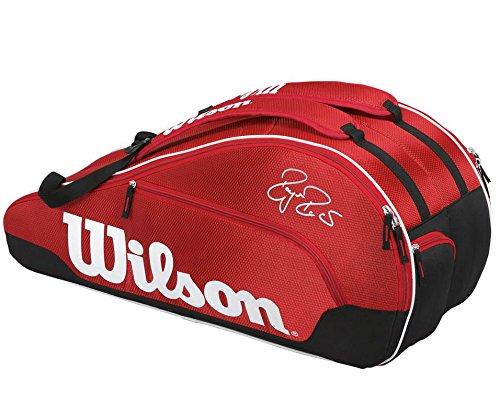 Wilson Federer Team III Borsa tennis per massimo 6 racchette, Colore Rosso