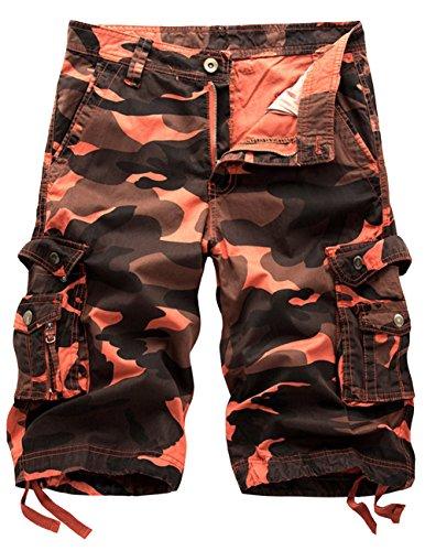 CUKKE Uomo Pantaloncini corti Bermuda Cargo short con tasconi laterali con cintura Rosso