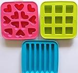 Ikea 's PLASTIS Ice Cube Tabletts (Set von 3–Herzen, Würfel, Röhren)