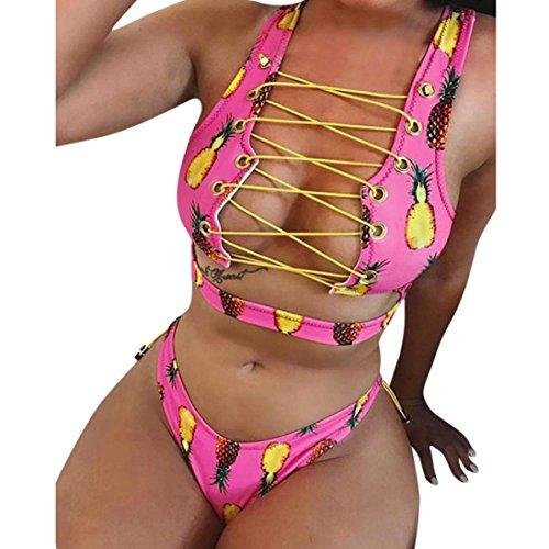 Frauen vorne Lace up Bikini Set, ubabamama bunt Druck Push-up gepolstert BH brasilianisches Badeanzug Krawatte Seite Badeanzug Tanga Badebekleidung (Seite Krawatte Bikini)
