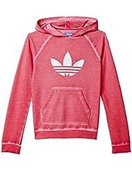 adidas J Tery Hood G - Sudadera para niña, talla 134, color rosa / blanco