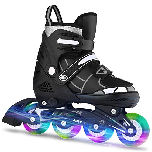 Inline Skates Kinder verstellbar mädchen/Jungen Inline Skates Rollschuhe PU Verschleißfeste Rollerblades Herren/Damen (39-42, Schwarz & Weiß)