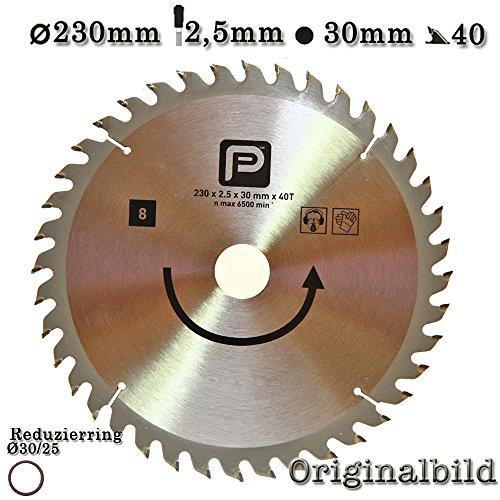 Kreissägeblatt Hartmetall HM 230 x 2,5x30mm mit Reduzierring auf 25mm 40 Zähne 2608641268