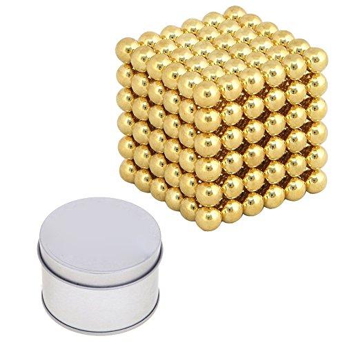 Gleader Cubo Magico de 216 bolas magneticas, Puzzle de bolas 5 mm de neodimio, color oro