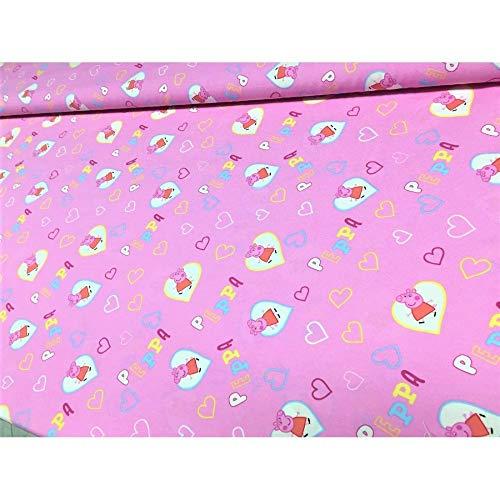 50 cm de Tela de tapicería de lona de bebé de Peppa Pig pig parte inferior de color rosa alto 280 cm