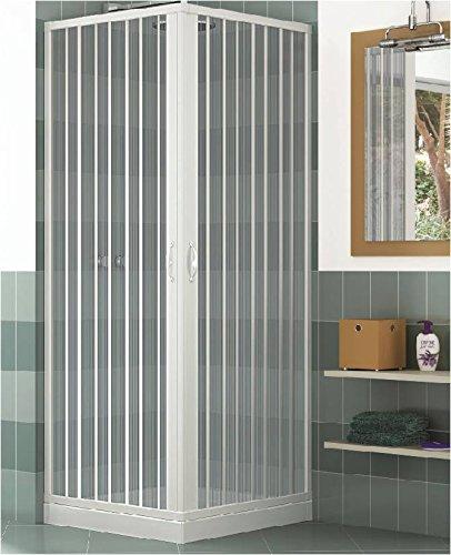 Duschkabine, Duschkabinenwand, Duschabtrennung, Größe: 80 x 80 x H 185 cm, aus PVC, Eck-Öffnung, 2 Falttüren, Weiß