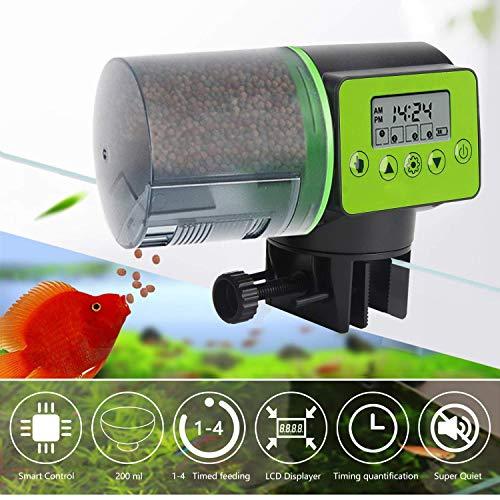 JINWENZHANG Futterautomat für Aquarium, Automatisierte Futterspender für Fische, Futterautomat für Fische, große Kapazität 200ml,digitaler Timer,LCD-Anzeige, für Aquarium, Fisch Tank