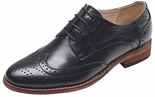SimpleC Damen Leder Flat Vintage Brogue Oxfords Schuhe Comfy Office Schuhe Schwarz38.5 Buck Oxford