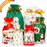 YiRAN Christmas Drawstring Gift Bags 30pcs Assorted Christmas Gift Wrapping Bags Upgraded Christmas Goodie Bags for Birthday Christmas Party with Christmas Gift Tags (30Pack)